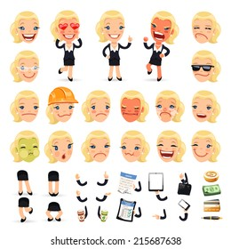 Set of Cartoon Businesswoman Character for Your Design or Animation. Isolated on White Background.
