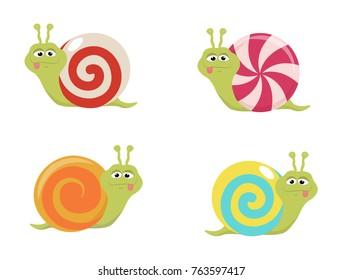 A set of cartoon candy snails. A vector illustration of decorative snails