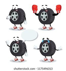 set of cartoon car wheel character mascot on white background