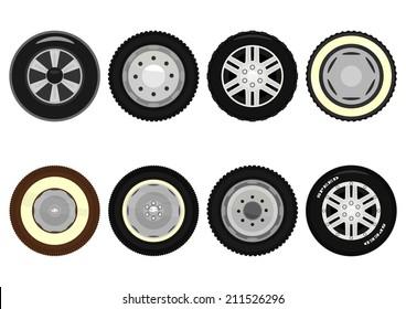 Set of cartoon car wheels. Vector