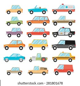 Set of cartoon cars. Flat vector.