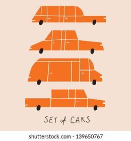 set of cartoon cars vector illustration