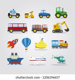 Set of cartoon cars, vehicles, other transportation on white. vector illustration. Flat style