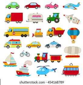 set of cartoon cars, vehicles, other transportation on white. vector illustration
