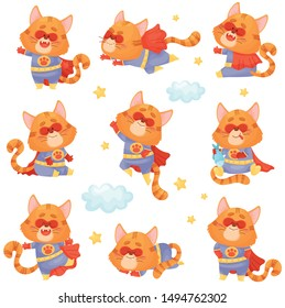 Set of cartoon cat in a superhero costume. Vector illustration on a white background.