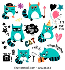 Set of cartoon cats character. Kitty with balloons, Festive cone cap on the head, gift box, bow, glasses, stars, speech cloud, text It is for you, Happy birthday, Best wishes to you.