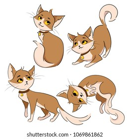 Set of cartoon cats. Collection of cute red cats. Pets with emotions. Playing animals. Illustration for children.