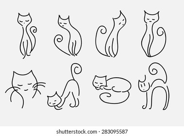 set of cartoon cats vector curved lines.