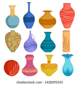 Set of cartoon ceramic vases. Colored ceramics vase objects, antique pottery cups with flowers, floral and abstract patterns.