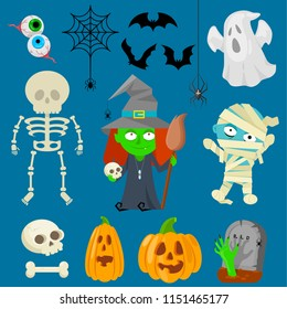 Set of cartoon charachters for Halloween on blue background.