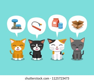 Set of cartoon character cute cats and speech bubbles with accessories for design.