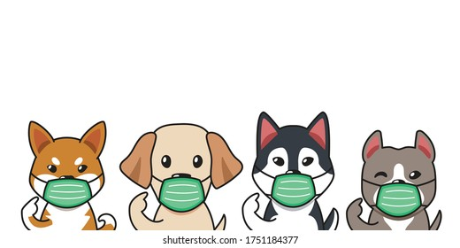 Set of cartoon character dogs wearing protective face masks for design.