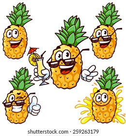 Set cartoon character - Happy pineapple in sun glasses. Vector clip-art illustration on a white background.