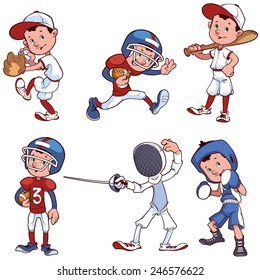 Set of cartoon characters of different sports. Sport boys. Vector clip-art illustration on a white background.