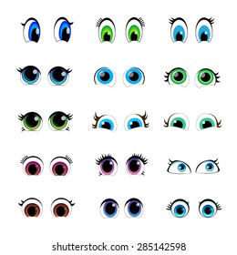set of cartoon characters for the eyes