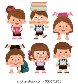 Set of cartoon characters, girls and boys. School children. Back to school. Cute schoolchild. School children laughing, funny kids go to school. Cartoon characters