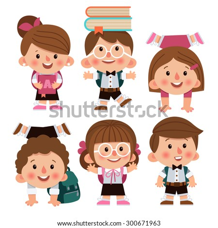 set cartoon characters girls boys school のベクター画像素材