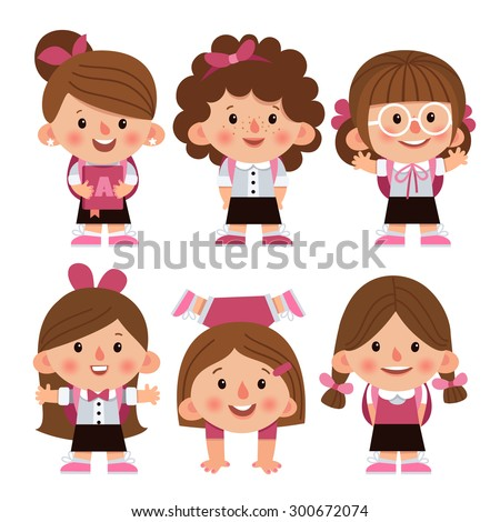 Set Cartoon Characters Girls Different Hairstyles Stock Vector