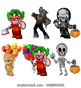 Set of cartoon characters for halloween