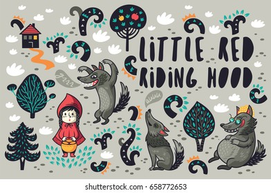 Set with cartoon characters from Little Red Riding Hood. Vector illustration