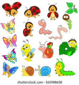 Set of cartoon characters on a white background. Insects vector. Snail, caterpillar, worm, beetle, ladybug, bee.