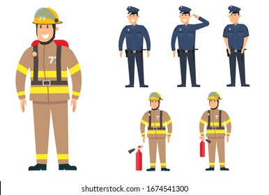 Set of cartoon characters of the policeman and fireman in different poses. Vector illustration