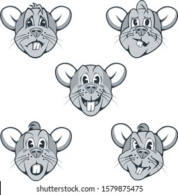 Set of cartoon characters of rats with different facial expressions.