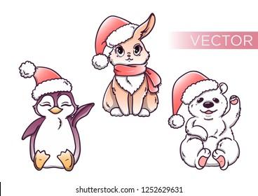 set of cartoon characters in Santa hats bear penguin and bunny