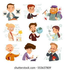 Set of cartoon characters scientists isolated on white background. Vector illustration