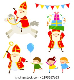 Set of cartoon characters of Sinterklaas with happy kids