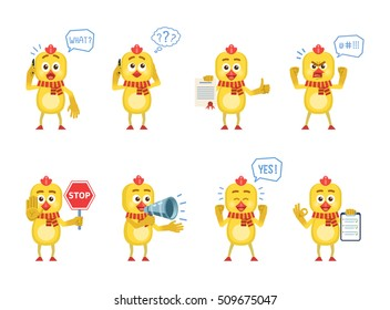 Set of cartoon chicken characters posing in different situations. Cheerful chicken talking on phone, surprised, thinking, angry, holding stop sign, clipboard, loudspeaker. Flat vector illustration