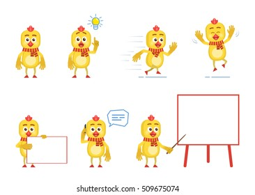 Set of cartoon chicken characters posing in different situations. Cheerful chicken talking on phone, pointing up, running, jumping, holding banner, pointing to whiteboard. Flat vector illustration