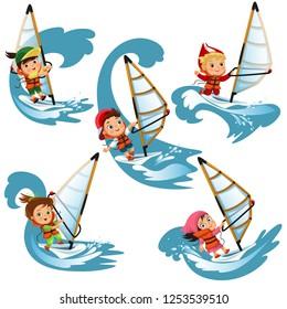 Set of cartoon children sailing on swim on waves