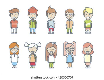 Set cartoon children's characters in flat style with stroke on a white background