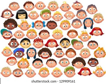 set of cartoon children's faces