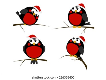 Set of cartoon Christmas birds