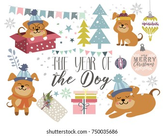 Set of cartoon Christmas dogs