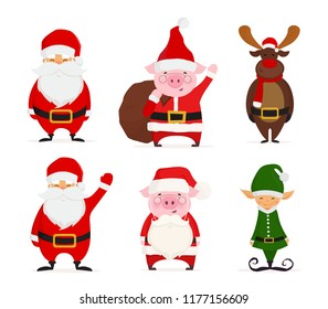 Set of cartoon Christmas illustrations isolated on white. Funny Santa Claus, Christmas Elf, Deer and Pig dressed in Santa costume. Vector illustration.