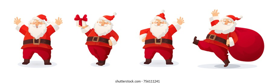 7ab6bd7ecf5 Set of cartoon Christmas illustrations isolated on white. Funny happy Santa  Claus character with gift