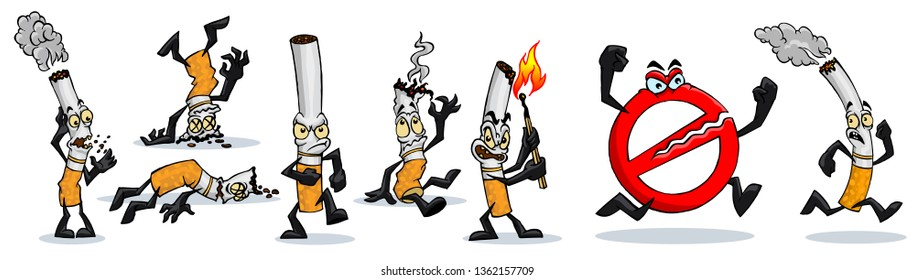 Set of cartoon cigarettes with different emotions, smoking is harmful to health, cigarette collection vector illustration. Lit cigarette with smoke, ban on smoking. Cigarette with eyes .