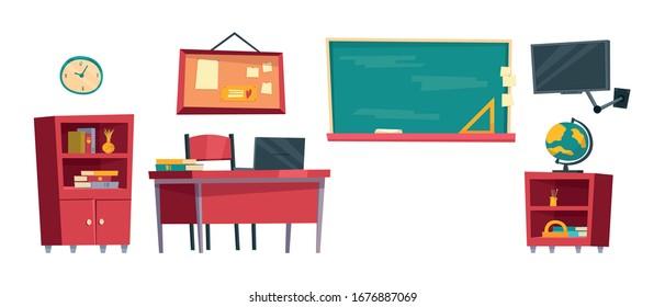 Set of cartoon classroom furniture vector illustration isolated on white background. School class interior. Bookcase, teacher's desk, blackboard, nightstand, globe, TV, bulletin board, clock.