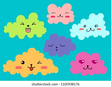 Set of cartoon clouds with emotions. Vector set with emotion icons for decorating greeting cards, Wallpapers, textiles, print for children's clothing.