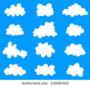 Set of cartoon clouds. Vector illustrated stylized set of icons for decorating greeting cards, games, websites.