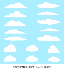 Set of cartoon clouds. Vector illustration.