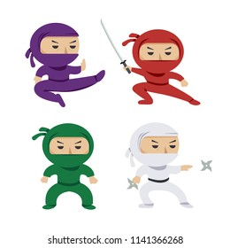 set of the cartoon colored ninjas with katana sword, martial arts poses. Vector clip art illustration.