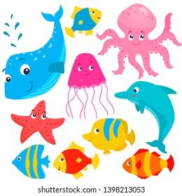 Set of cartoon colorful cute sea animals. Vector flat illustration.