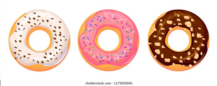 Set of cartoon colorful donuts isolated on white background. Top View Doughnuts collection into glaze for menu design, cafe decoration, delivery box. vector illustration in flat style