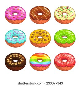 Set of cartoon colorful donuts on the white background