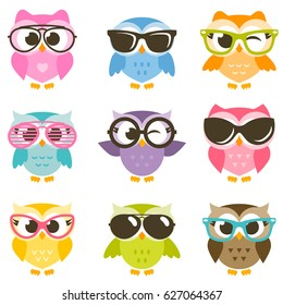 set of cartoon colorful owls with sunglasses