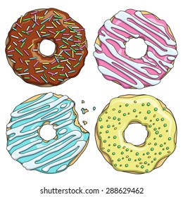 Set of cartoon colorful tasty donuts on the white background. Vector Illustration.